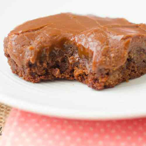 Chocolate brownie with a thick frosting