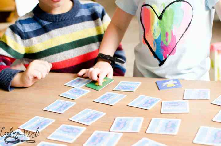 Playing 'memory' is a fun kid's activity that helps the brain develop correctly.