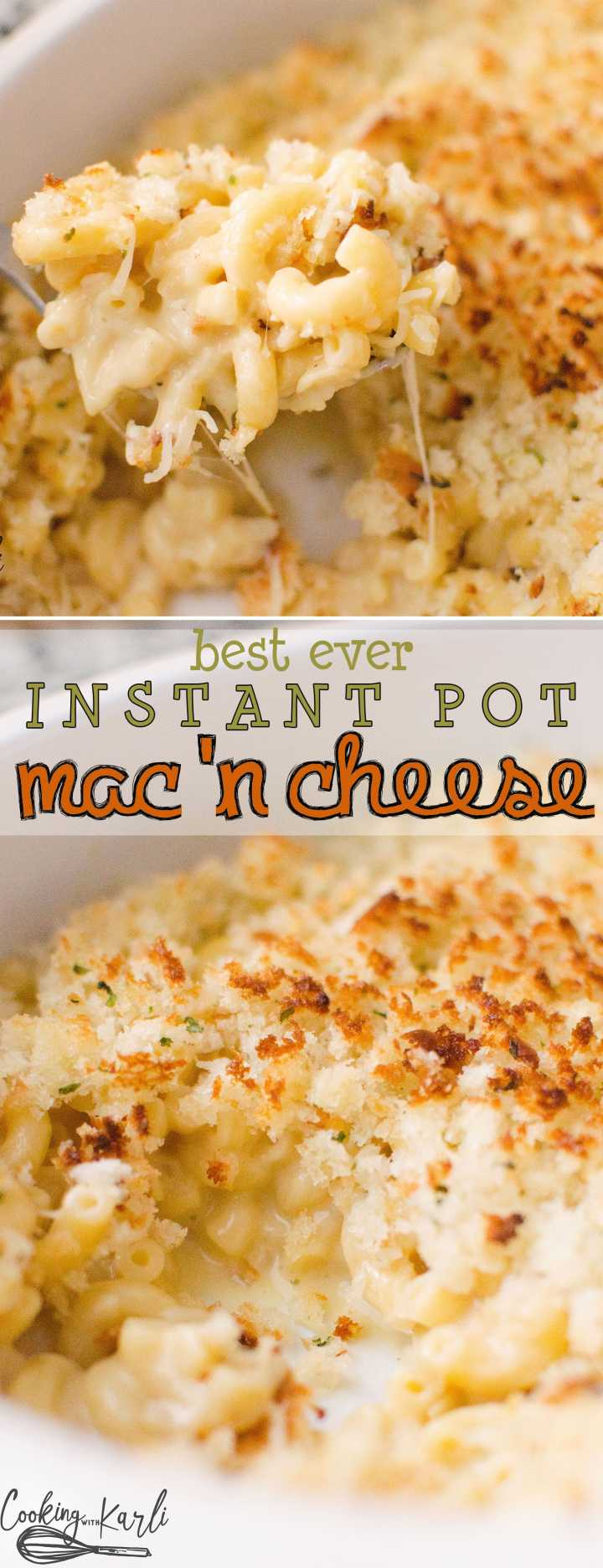 Instant Pot Mac 'n Cheese is equally fast and delicious! Perfectly cooked pasta, from scratch sauce and a crispy breadcrumb topping will knock your socks off! Perfect for ages 1-101!-Cooking with Karli- #instantpot #recip #dinner #maindish #side