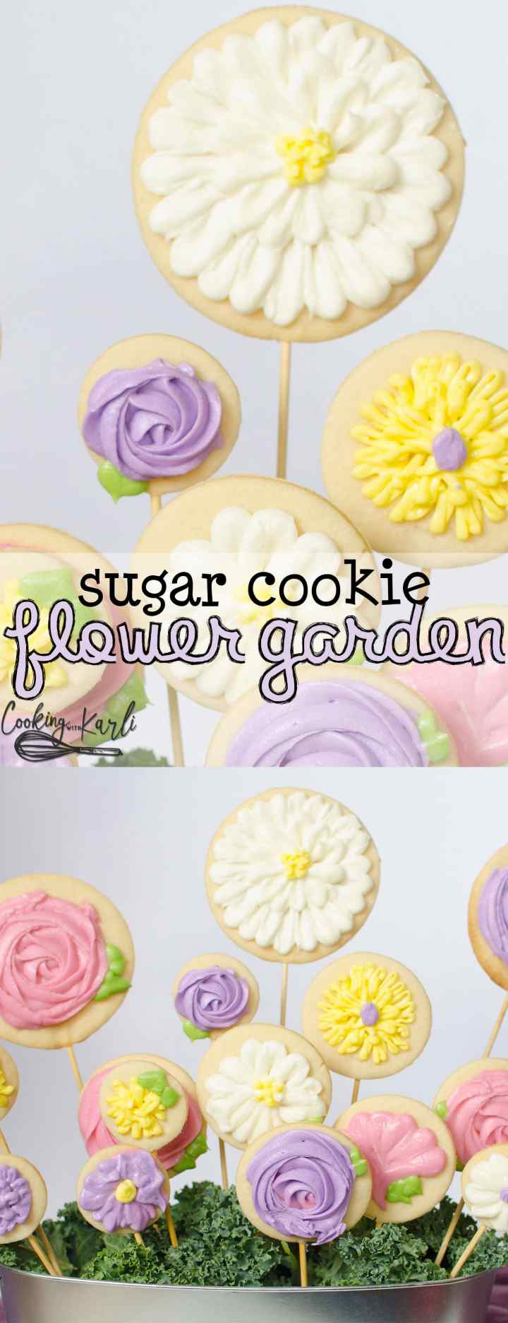 Sugar Cookie Flowers make the perfect Mother's Day gift! Cut-out sugar cookies baked onto a skewer and decorated with buttercream frosting then arranged in a pot to look like a garden of flowers! |Cooking with Karli| #mothersday #gift #dessert #flowers #recipe #tutorial #howto #diy #sugarcookies #buttercream