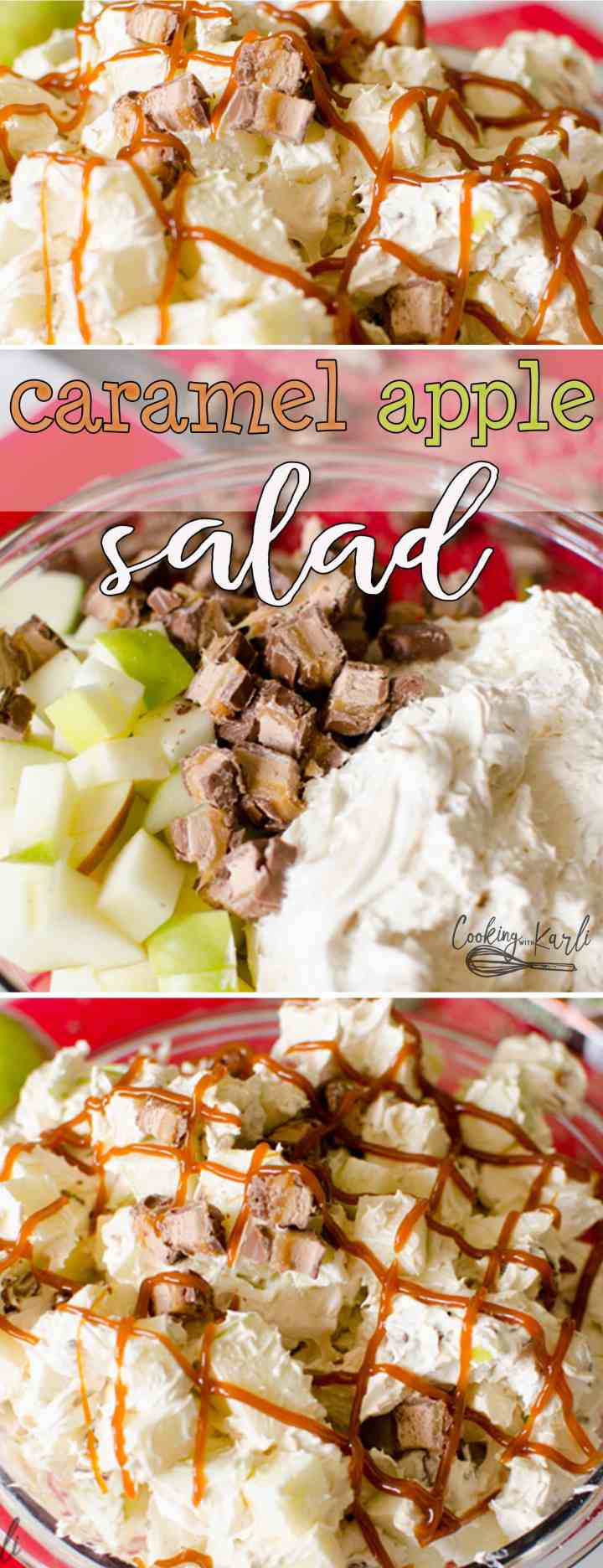 Caramel Apple Salad is a fluffy, creamy, subtly caramel flavored salad that is filled withtart Granny Smith Apples and Milky Way candy bars. The whole salad is drizzled with caramel sauce to finish it off. This classic salad is perfect for potlucks, holidays, family parties, or fall. |Cooking with Karli| #salad #sidedish #caramel #apple #candybar #recipe