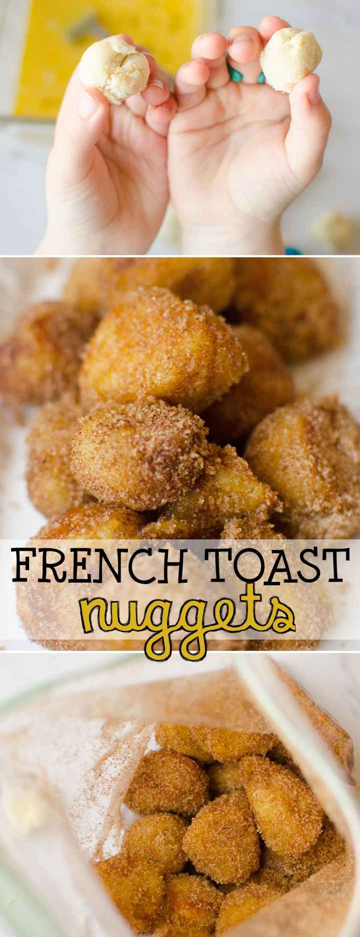 French Toast Nuggets are small, bite-sized pieces of french toast. They're dipped in egg and fried crispy-brown, and covered with cinnamon and sugar. This is such a fun alternative to regular old French toast! Plus, no forks required! |Cooking with Karli| #frenchtoast #kidcook #nuggets #breakfast #recipe