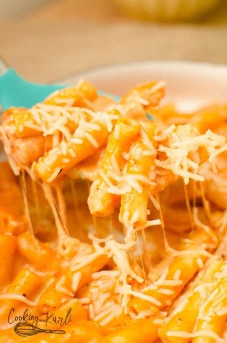 Parmesan Cheese and Mozzarella Cheese thicken the sauce and make this dish rich and delicious.