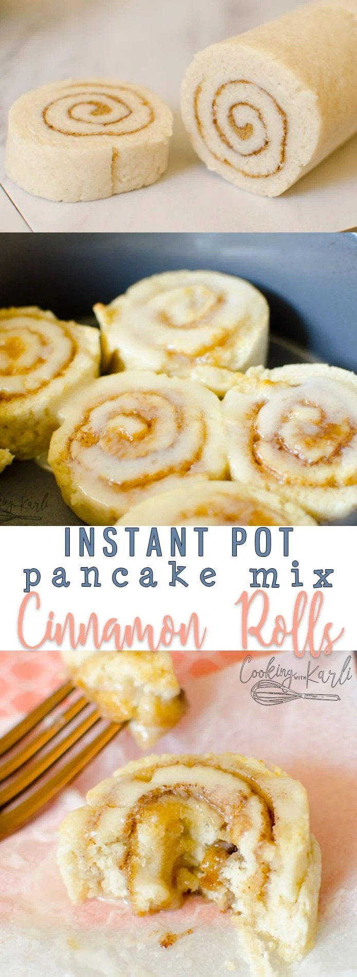 Pancake Mix Cinnamon Rolls are fast, easy and tasty! The dough is made from just three ingredients; pancake mix, sugar and milk. Cooking these in the Instant Pot keeps them soft and moist. Pancake Mix Cinnamon Rolls will be a new favorite treat! |Cooking with Karli| #instantpot #breakfast #pressurecooker #cinnamonrolls #pancakemix #hack #recipe