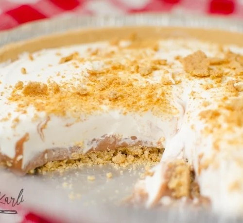 S'mores frozen pie ready to serve in a pre made graham cracker crust.