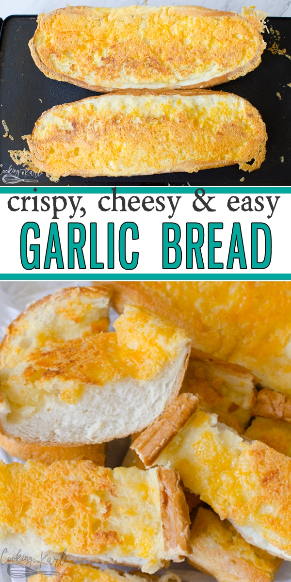 Garlic Cheese Bread is the best garlic bread, hands down! The crispy cheese on top gives the garlic bread a little crunch and a lot of flavor! This Garlic Cheese Bread is the perfect quick side dish and carb to pair with any weeknight meal! |Cooking with Karli| #garlic #bread #Frenchbread #garlicbread #sidedish #carb #crispy #cheese  #recipe