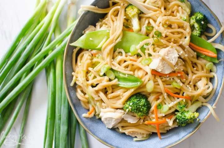 chicken lo mein made in the Instant Pot or on the stovetop