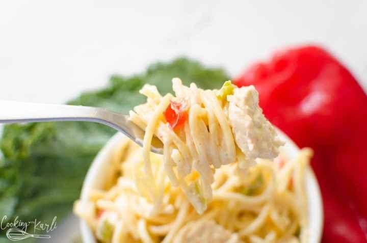 creamy chicken spaghetti made in the Instant Pot