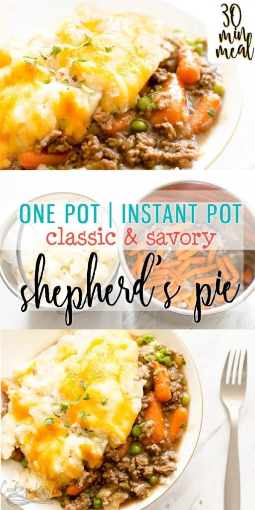 Shepherd's Pie is a savory classic from the flavorful meat and gravy up to the creamy mashed potatoes! Instant Pot instructions included to make this meal a one pot wonder!! This classic comfort food is the perfect meal for your family!  |Cooking with Karli| #instantpotrecipe #instantpot #groundbeef #shepherdspie #comfortfood #classic