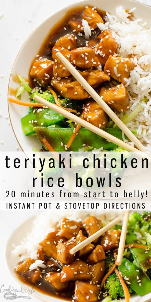 Teriyaki Chicken Bowl is a quick and easy meal full of tender chicken, crunchy veggies, rice and the classic sweet & savory homemade Teriyaki Sauce. This healthy dinner will be a new family favorite! Made in either the Instant Pot or crockpot, this is definitely a keeper! |Cooking with Karli| #teriyaki #teriyakichicken #chicken #chickentenders #chickenbreasts #healthy #ricebowl #teriyakichickenbowl #recipe #instantpot