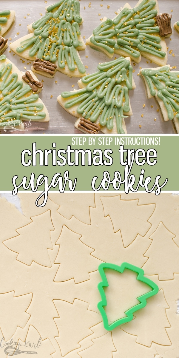 Christmas Sugar Cookies are a soft, chewy sugar cookie decorated like a Christmas Tree. The simple design made with Vanilla Buttercream is beginner friendly. These Christmas Sugar Cookies will make everyone's spirit bright! |Cooking with Karli| #sugarcookies #christmascookies #christmassugarcookies #vanillabuttercream #christmas #christmastree
