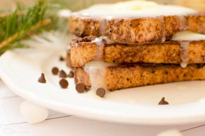hot chocolate French toast with homemade syrup