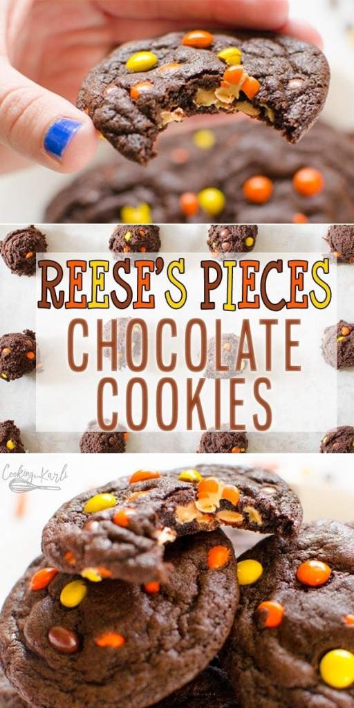 Chocolate Peanut Butter Cookies are a rich and chewy chocolate cookie filled with mini peanut butter Reese's Pieces! The peanut butter to chocolate ratio is absolutely perfect in these heavenly cookies! |Cooking with Karli| #chocolate #peanutbutter #reesespieces #cookie #cookierecipe #recipe #dessert