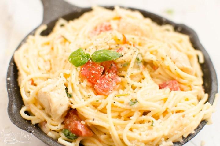 tomato basil pasta dish with chicken