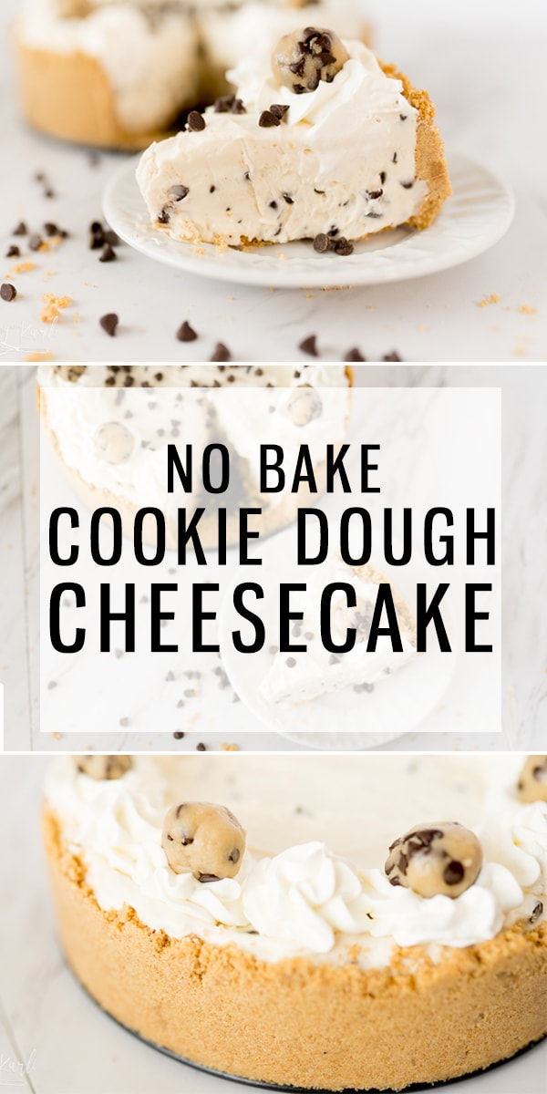 Cookie Dough Cheesecake is an easy no bake cheesecake that is made with egg-free cookie dough. The smooth, rich and creamy texture is everything you'd ever dream of! With this Cookie Dough Cheesecake, you have the classic cheesecake flavor with the perfect hint of cookie dough. |Cooking with Karli| #cheesecake #nobake #cookiedough #recipe