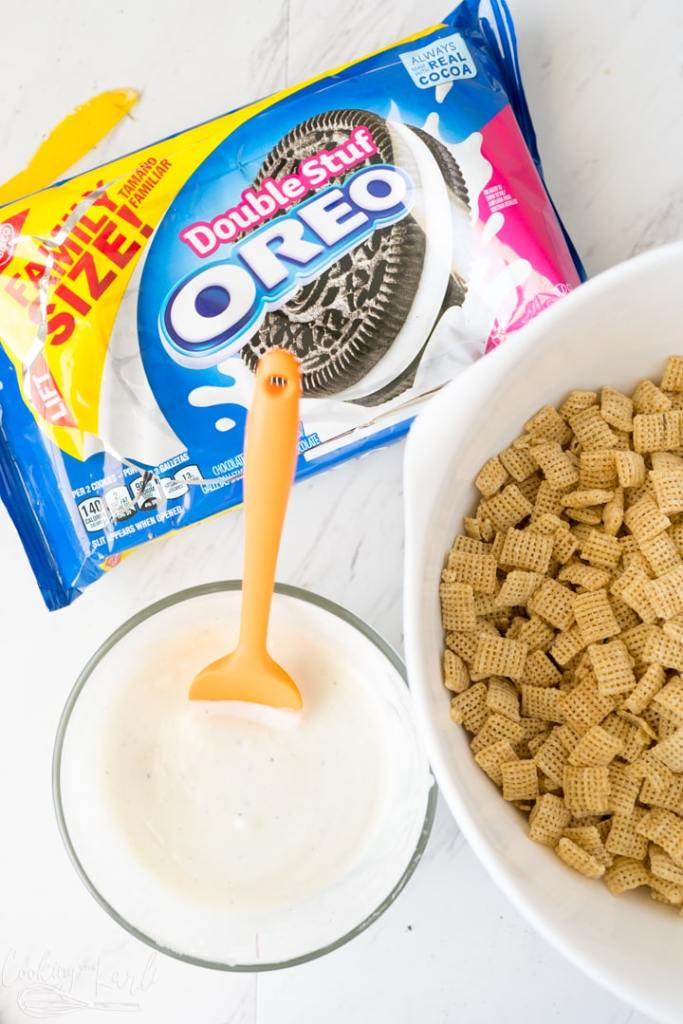 cream filling and white chocolate melted together before being poured onto the cereal.