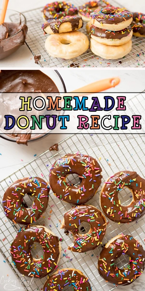 Homemade Donuts are a quick and easy treat the whole family will love. This is a yeast based donut recipe that is completely beginner friendly. This Homemade Donut Recipe yields a classic fluffy inside and crisp outside. |Cooking with Karli| #homeadedonuts #donuts #dougnuts #glazed #chocolateicing #recipe #easy #instantpot