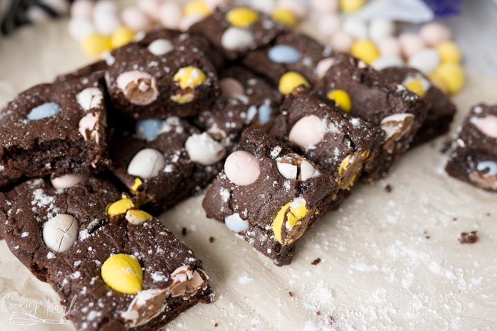 easter brownies with mini eggs, finished