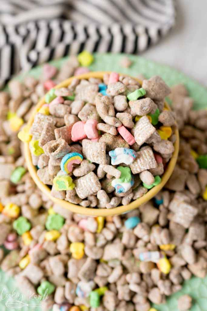 Muddy Buddies with Lucky Charms, finished and served.