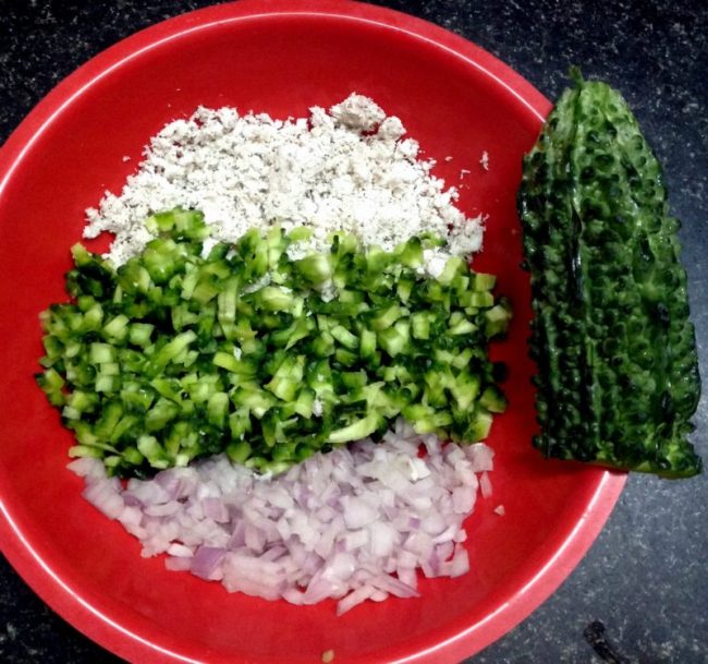 Karela-bitter gourd salad. Vidya Sury Cooking With Mi