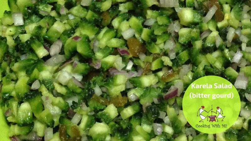 Karela-bitter gourd salad. Vidya Sury Cooking With Mi