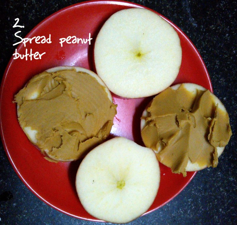 Apple peanut butter sandwich
