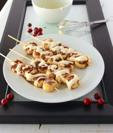 Holiday Baking Giveaway and Cinnamon Roll Kabobs by www.whatscookingwithruthie.com