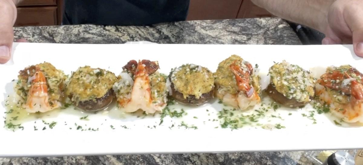Crab Cake Stuffed Colossal Shrimp and Portobello Mushroom Caps.