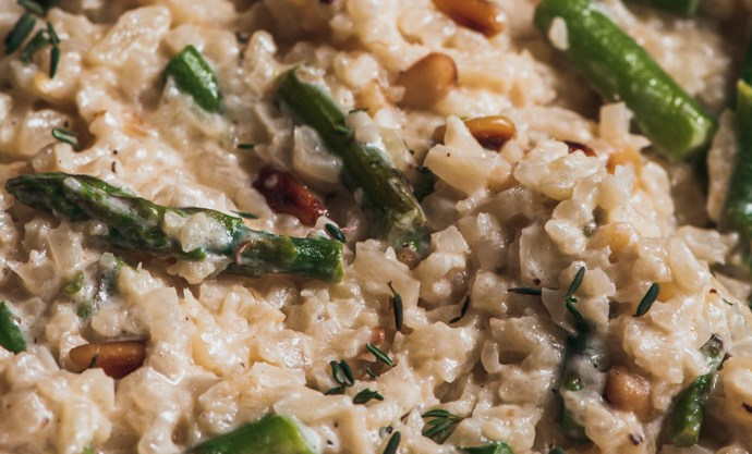 "Cauliflower ""Risotto"" with Asparagus & Pinenuts"