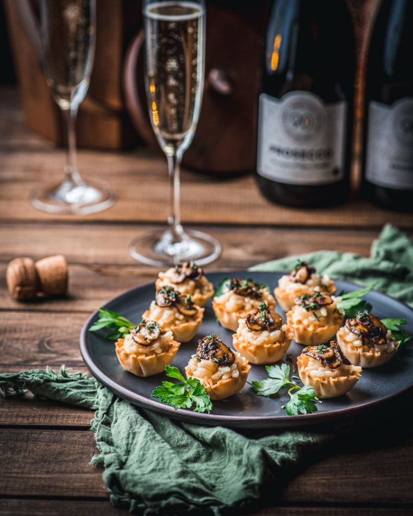 Parmesan Risotto and Mushroom Ragù Phyllo Cup Bites and 90+ Cellars Prosecco
