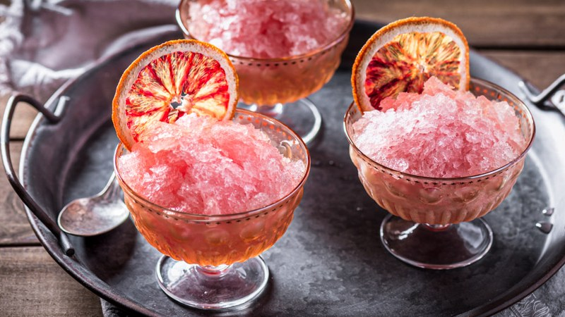 Blood Orange Elderflower Rosé Granita