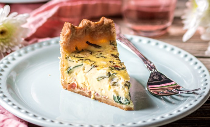 Goat Cheese, Spinach, Basil and Prosciutto Quiche