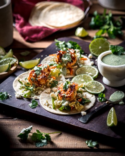 Blackened Garlic Shrimp Tacos