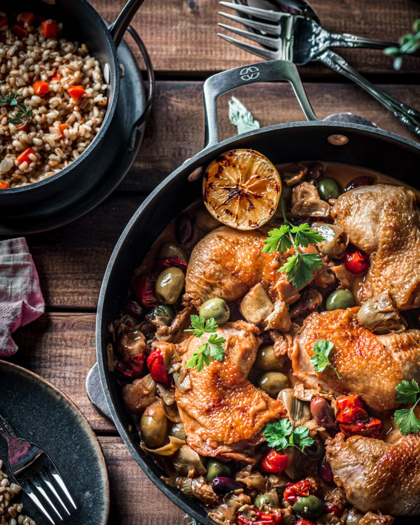 Olive and Artichoke Braised Chicken with Barely Pilaf