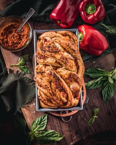 Roasted Red Pepper Pesto and Mozzarella Babka