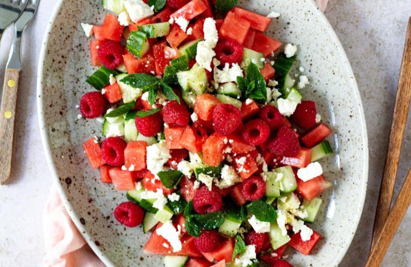 Melonen Gurken Salat mit Feta Käse