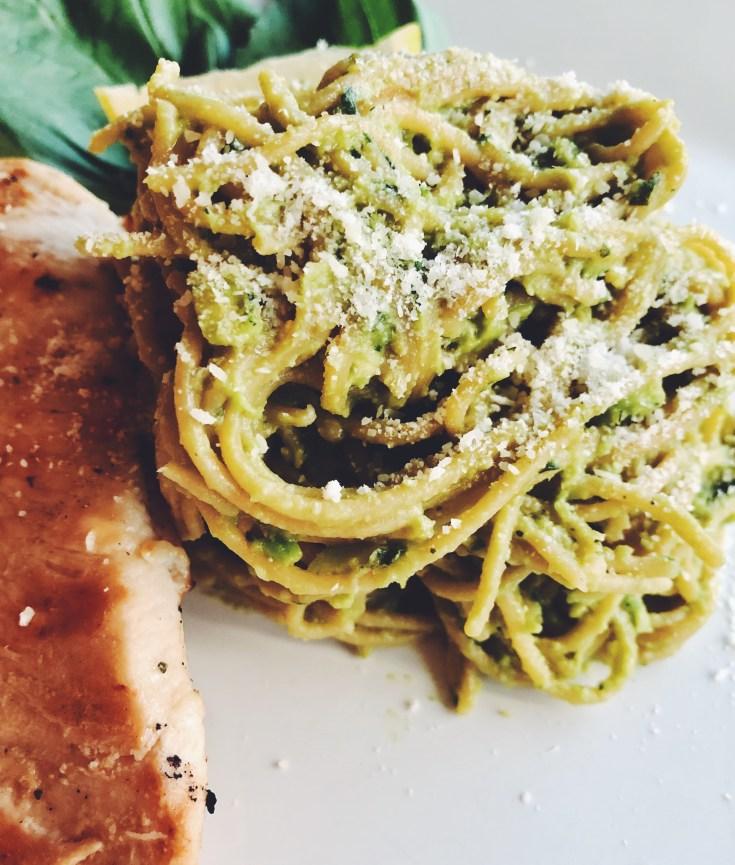 Avocado Basil Pesto Pasta with Lemon Garlic Chicken