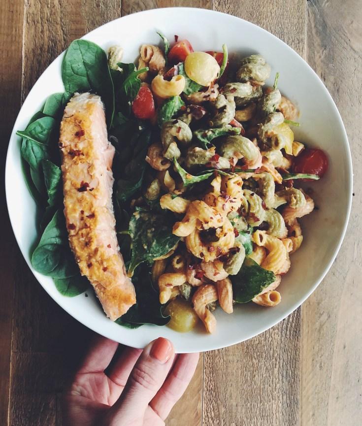 RECIPE | Ithaca Roasted Red Pepper Hummus Salmon & Pasta