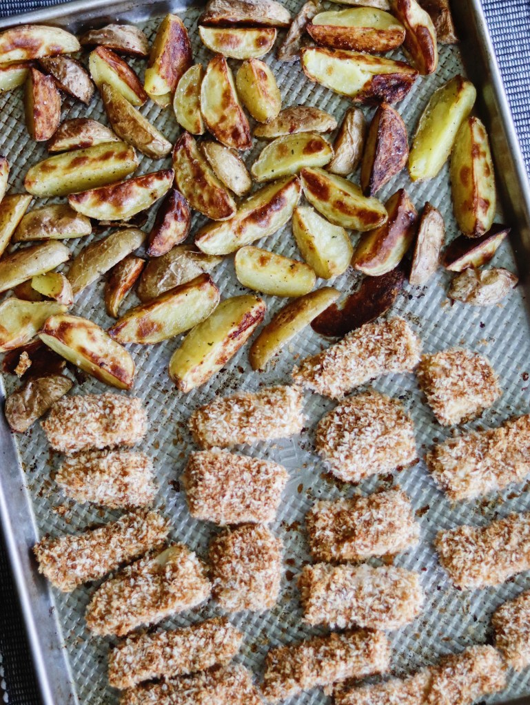 Recipe | One Pan Baked Fish and Chips | cookithealthier.com