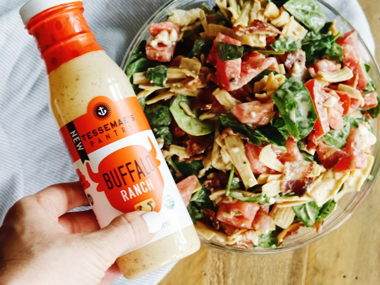 Recipe   B.B.L.T. Pasta Salad with Tessemae's Buffalo Ranch Dressing   cookithealthier.com