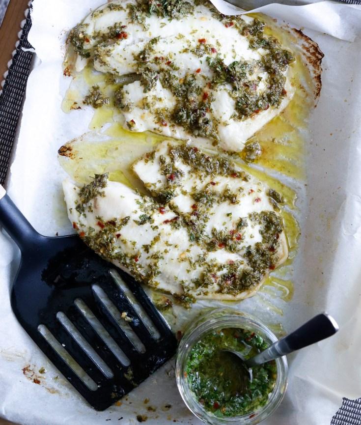 RECIPE | Baked Chimichurri Tilapia | cookithealthier.com