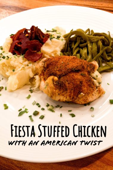 Fiesta stuffed chicken breast, dry-rubbed with traditional Mexican cuisine spices, paired with cheesy mashed potatoes topped with bacon and french-style cut green beans.