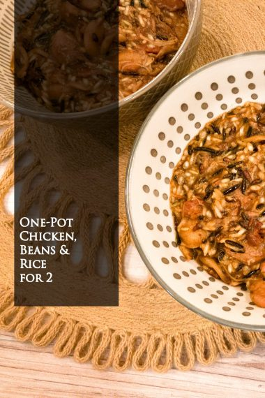 chicken, pancetta, white beans, wild rice blend, and lots of spices cooked in one pot, portioned for two people