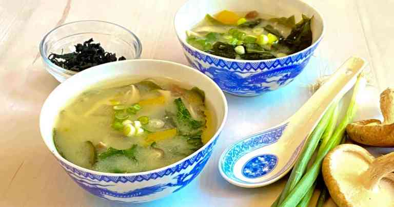 Two bowls of Healing Vegetable Miso Soup
