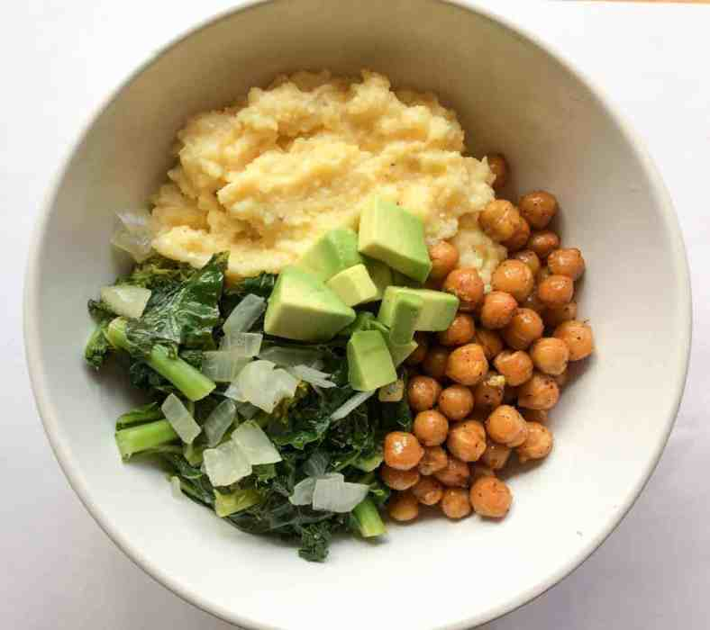 photo of polenta bowl with chickpeas and kale