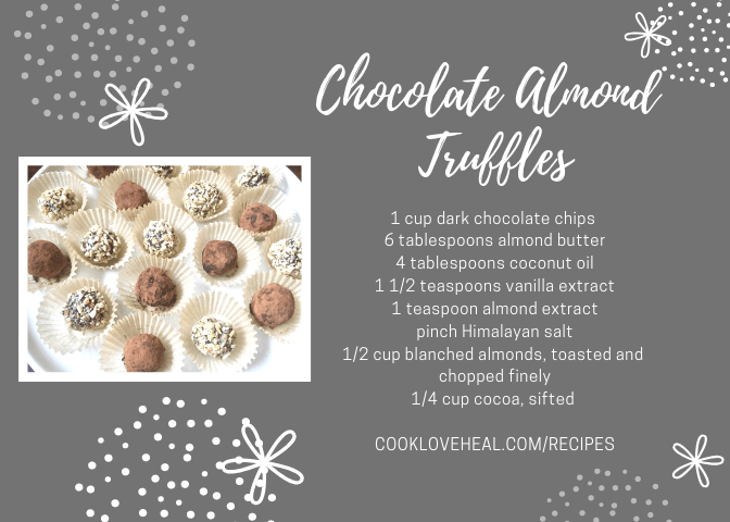 Chocolate almond truffles recipe card