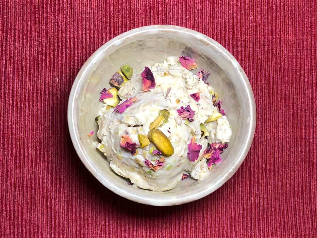 Photo of pistachio and rose petal coconut ice cream