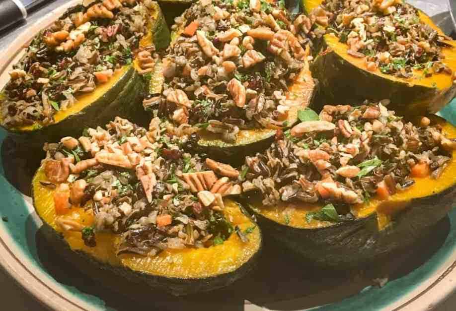 wild rice pilaf in acorn squash halves