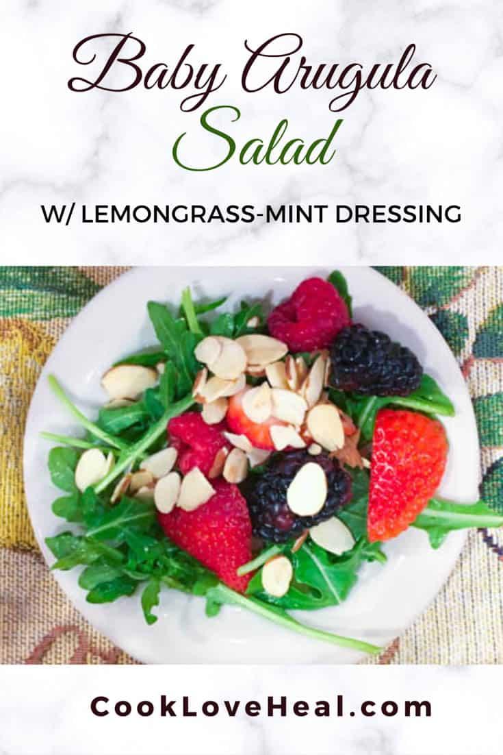 Baby Arugula Salad with Lemongrass-Mint Dressing • Cook Love Heal by Rachel Zierzow