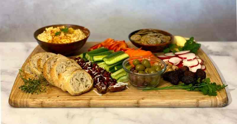 Easy Mediterranean Mezze Platter on cutting board